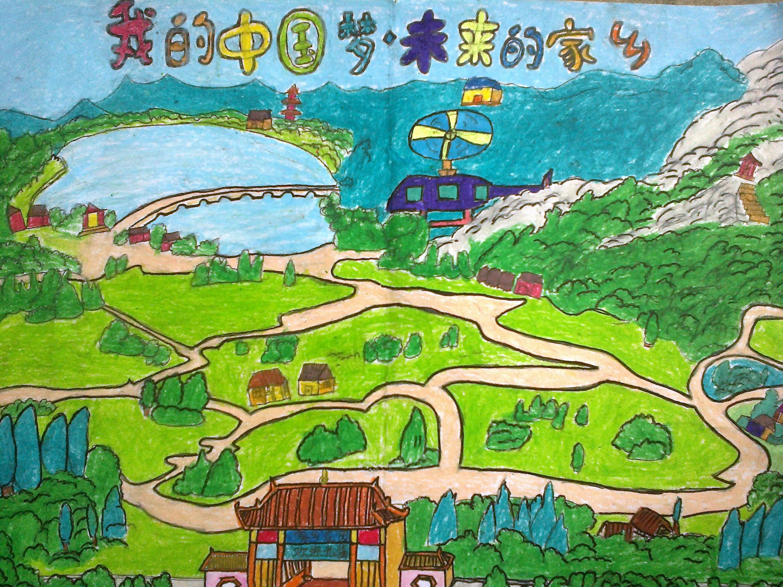 校园,春天,家乡的手绘画彩铅