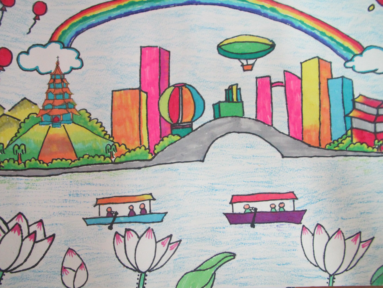 美丽杭州河道梦绘画作品