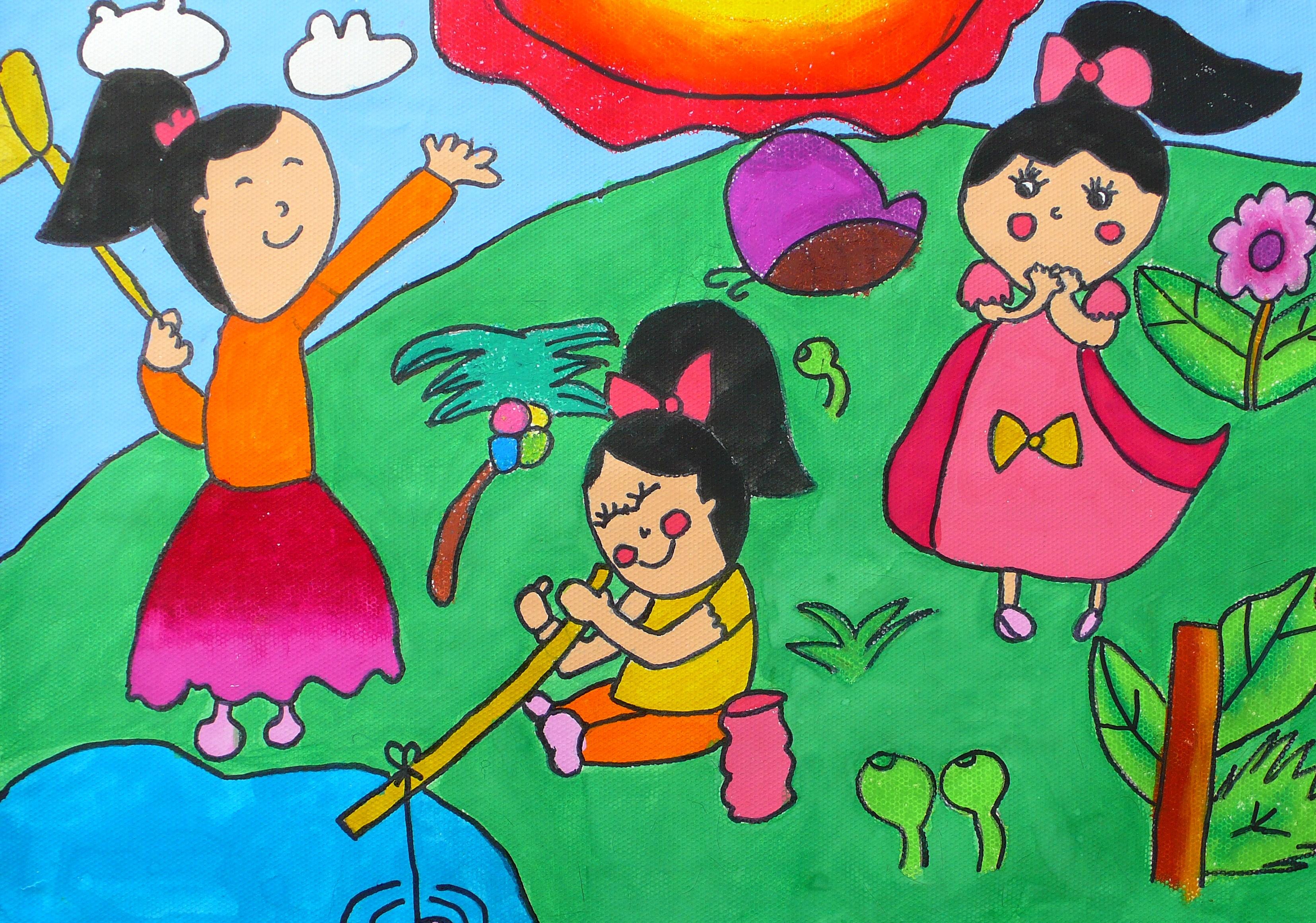 快乐的童年儿童画作品图片大全图片