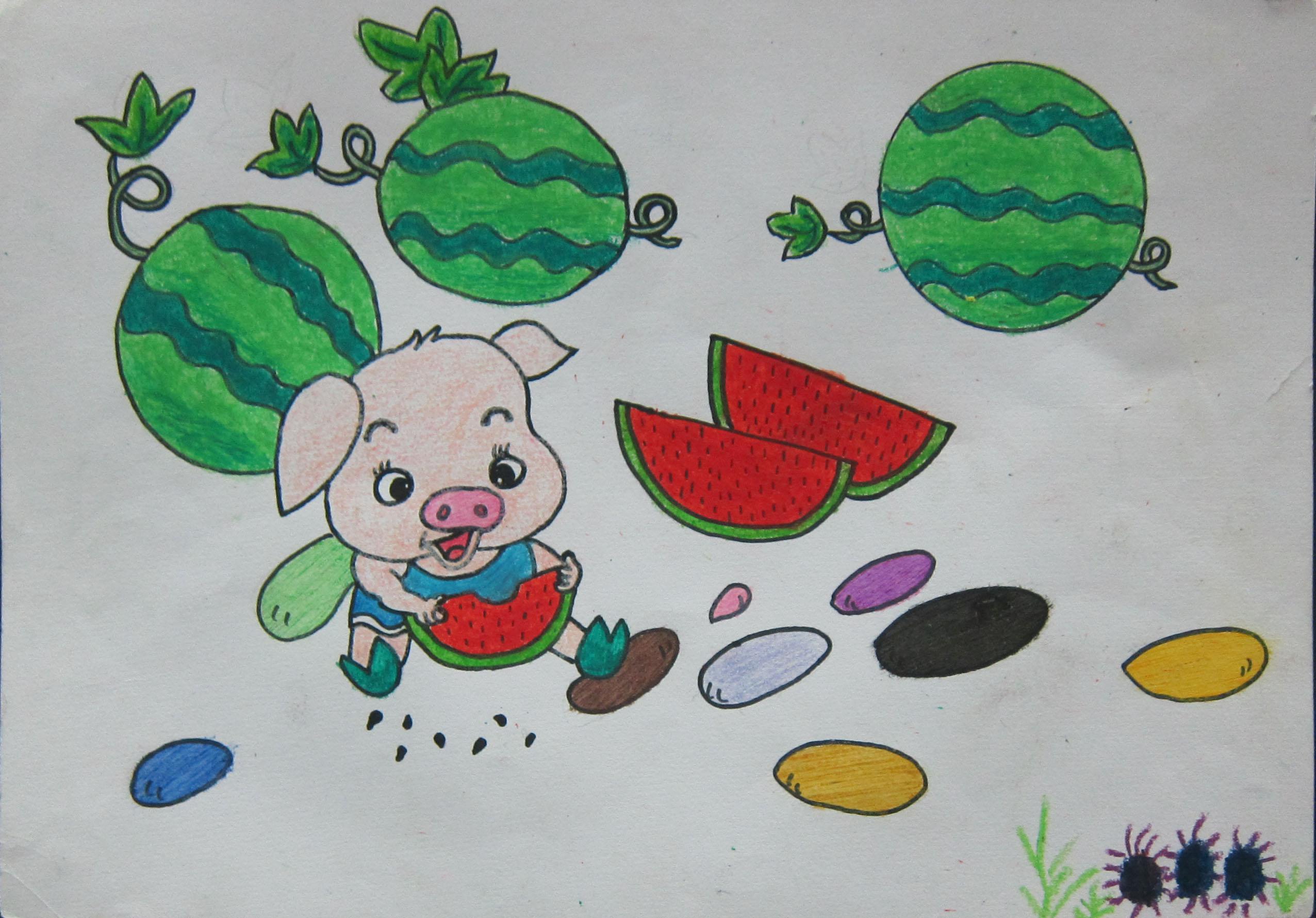 儿童动物画 蜡笔小猪