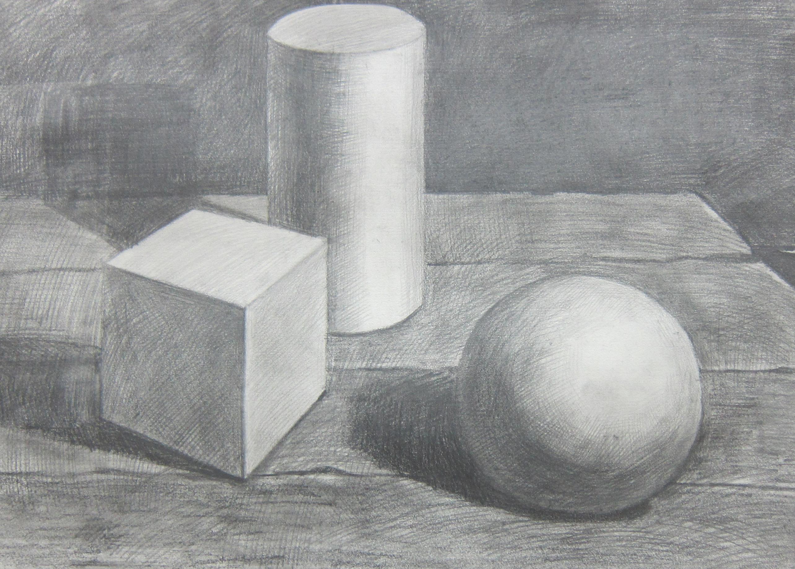 素描  桌面上的石膏几何体-李佳星