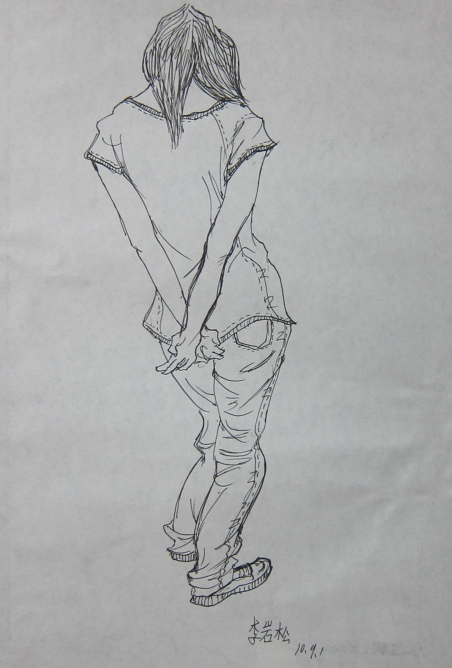 素描画背影步骤