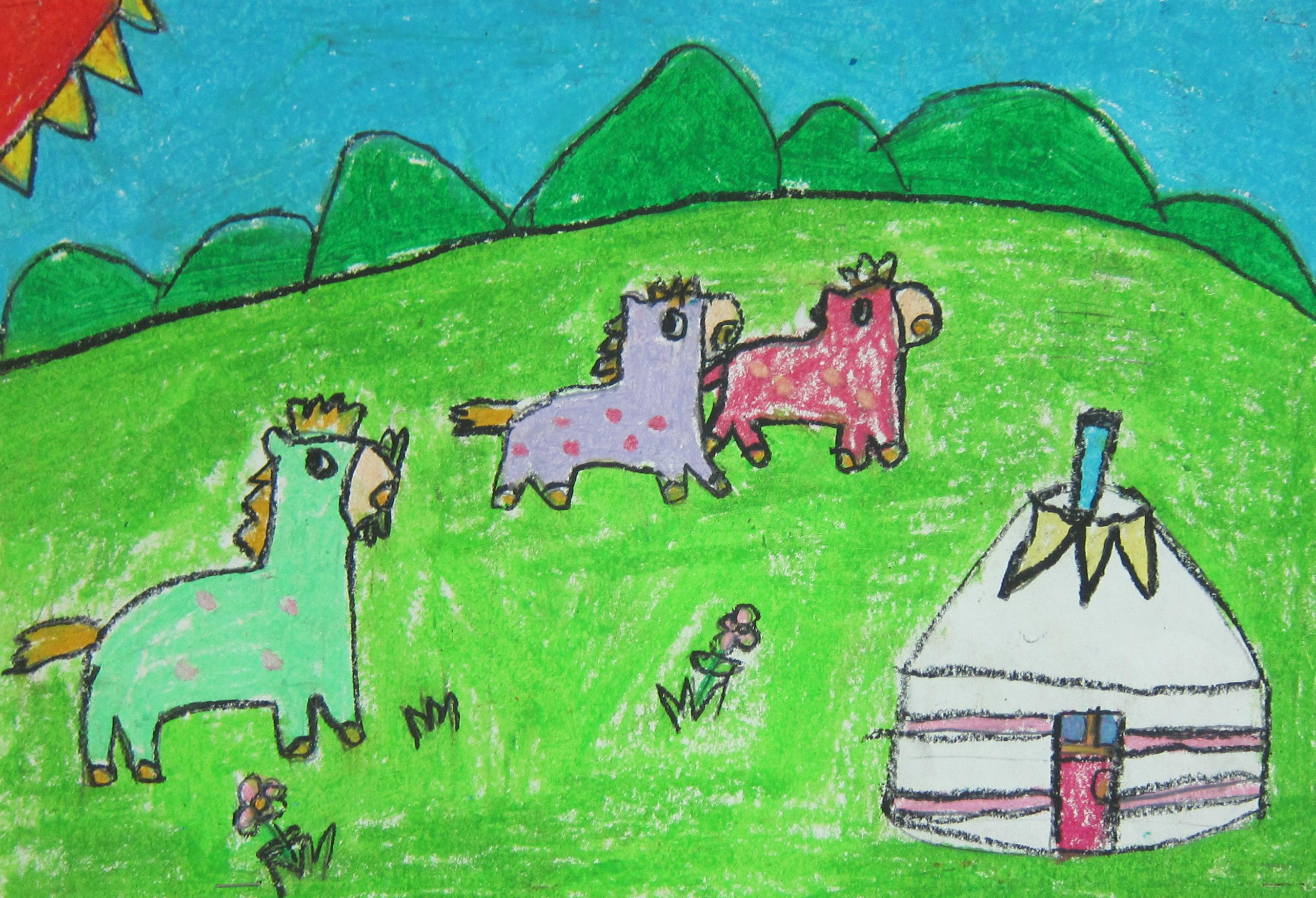 牧场-萨日娜 - 白石杯-青少年书画大赛优秀作品