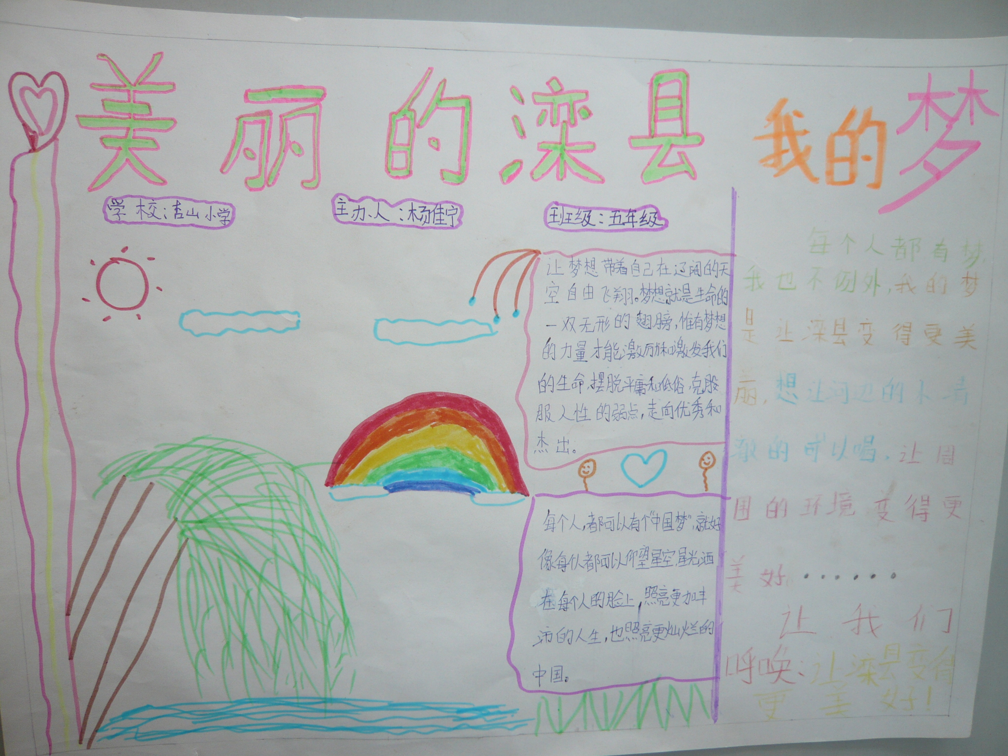 美丽滦县我的梦 手抄报图片 - 红领巾相约中国梦动态
