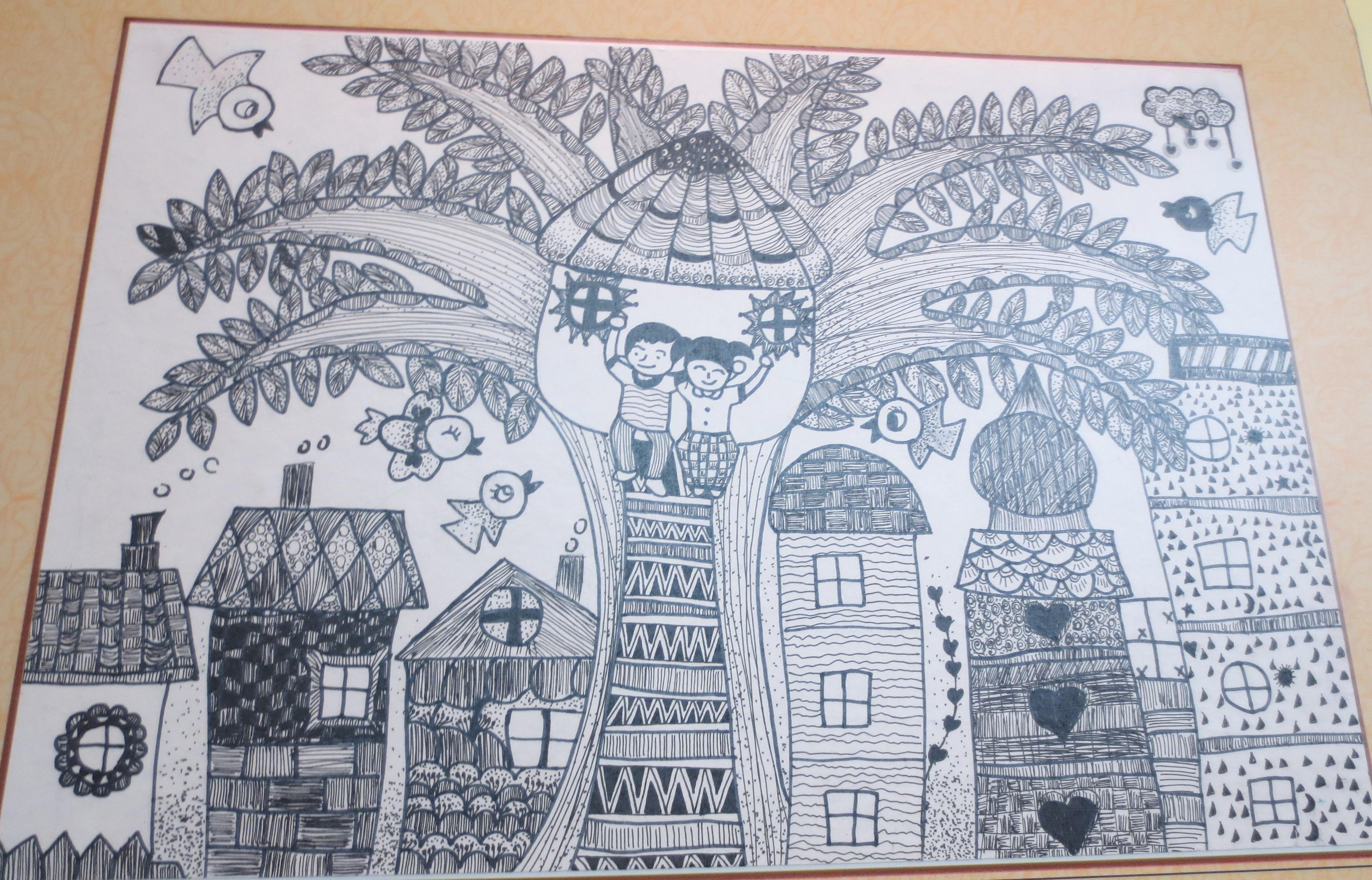 """... 家坝,我爱家乡""""学生绘画作品 cdn.03.k618.cn 宽3932x2523高"""