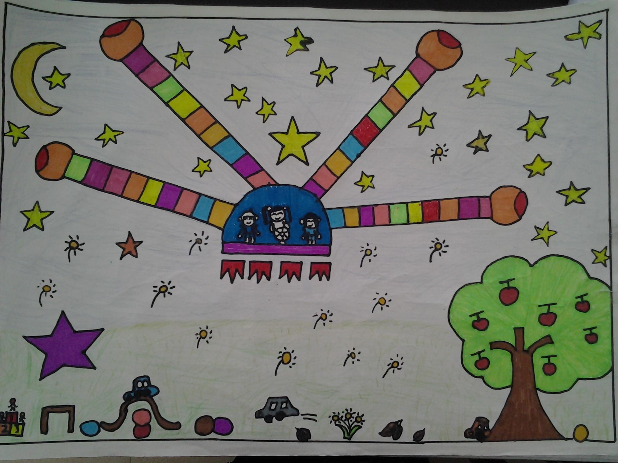 科技创新大赛少儿科幻画作品图片