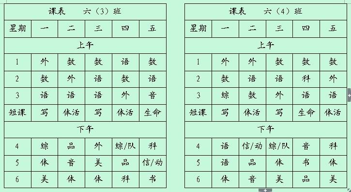 常州市戚墅堰区潞城小学2013-2014年班级课表