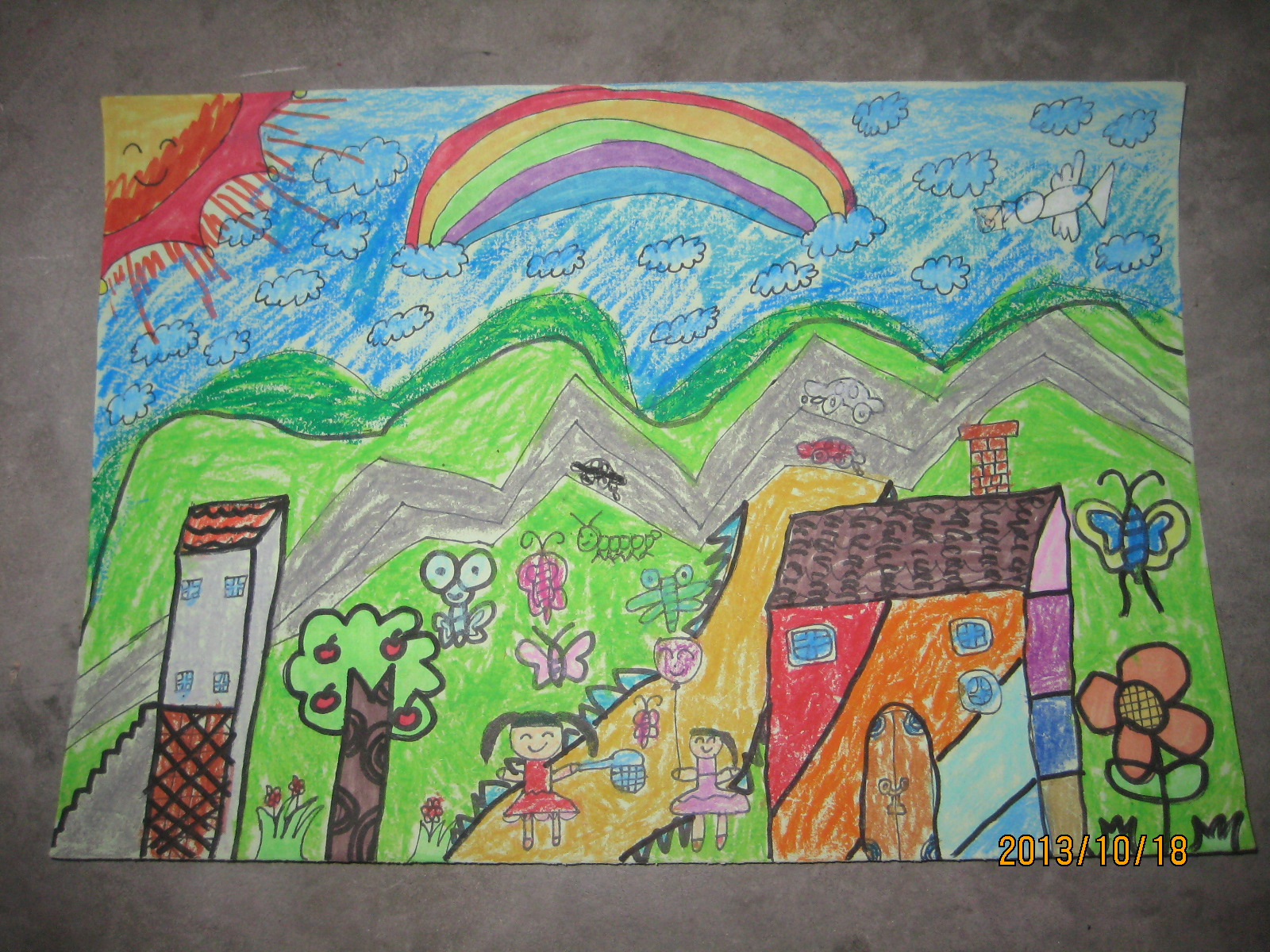 我爱家乡美_关于爱家乡的绘画_风景520