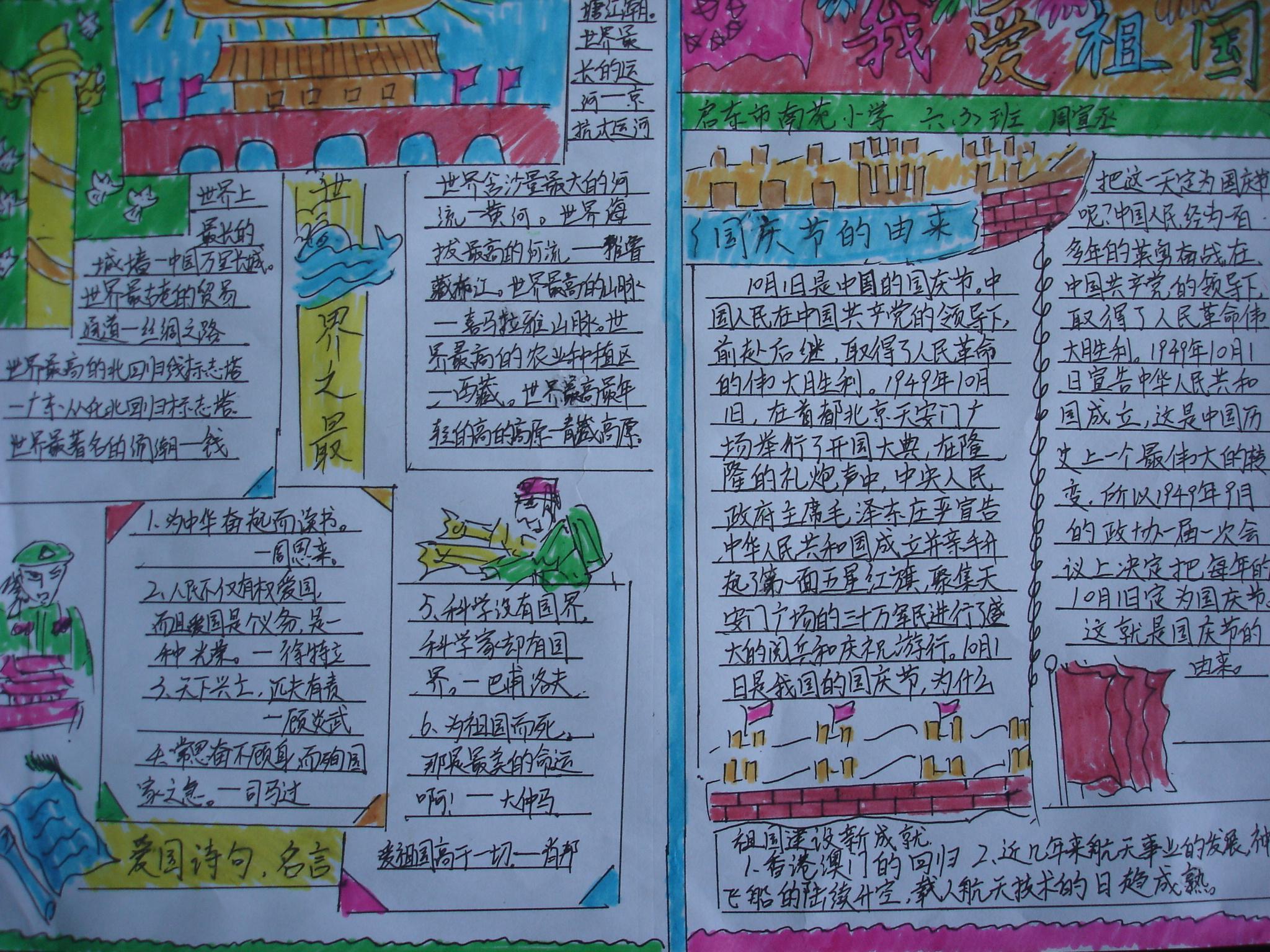 """启东市 南苑小学""""我爱我的祖国""""小报制作比赛图片"""