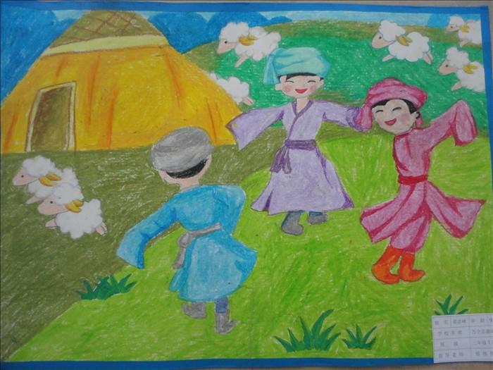 56个民族团结儿童画
