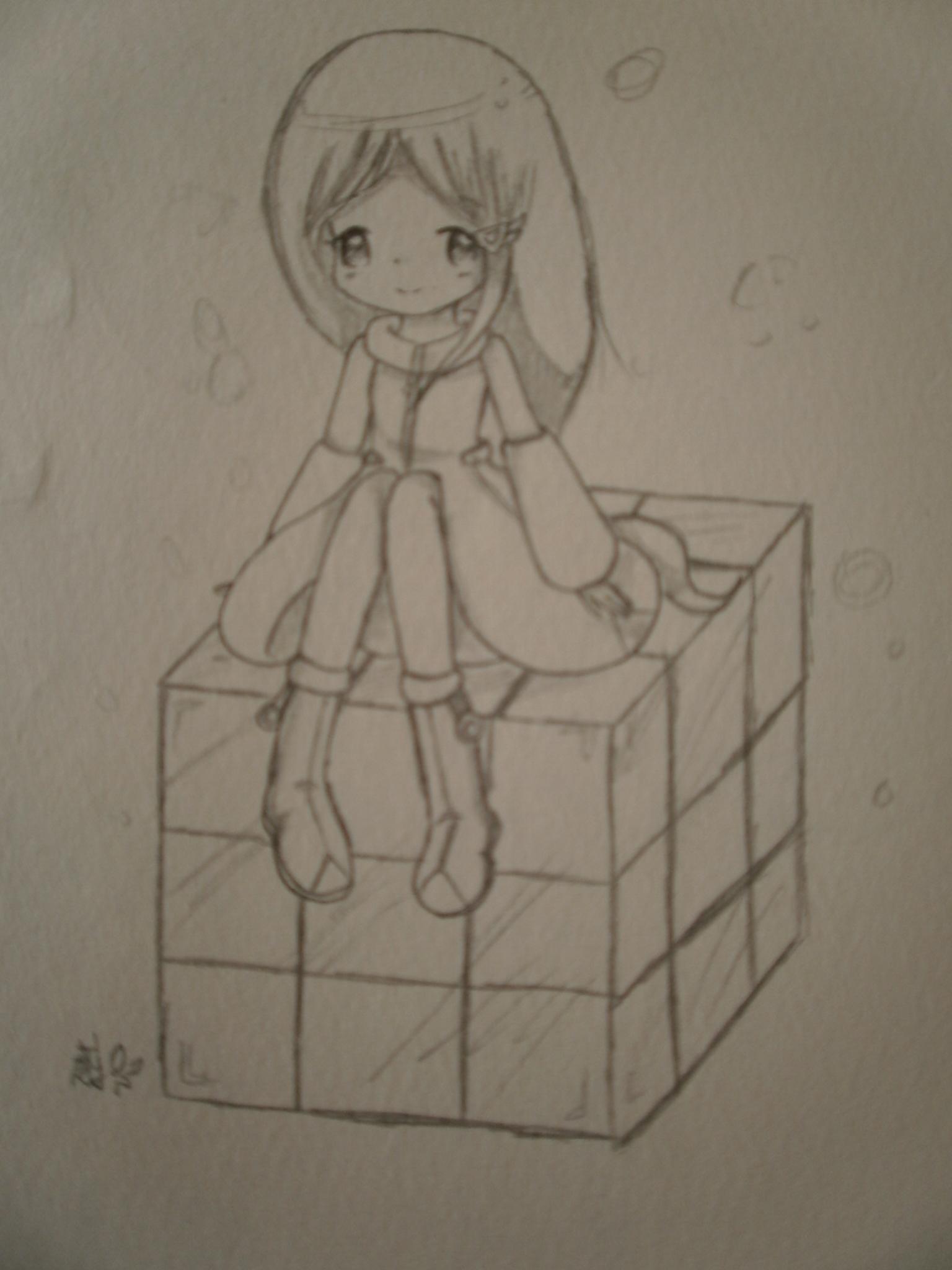 魔方素描画步骤图片