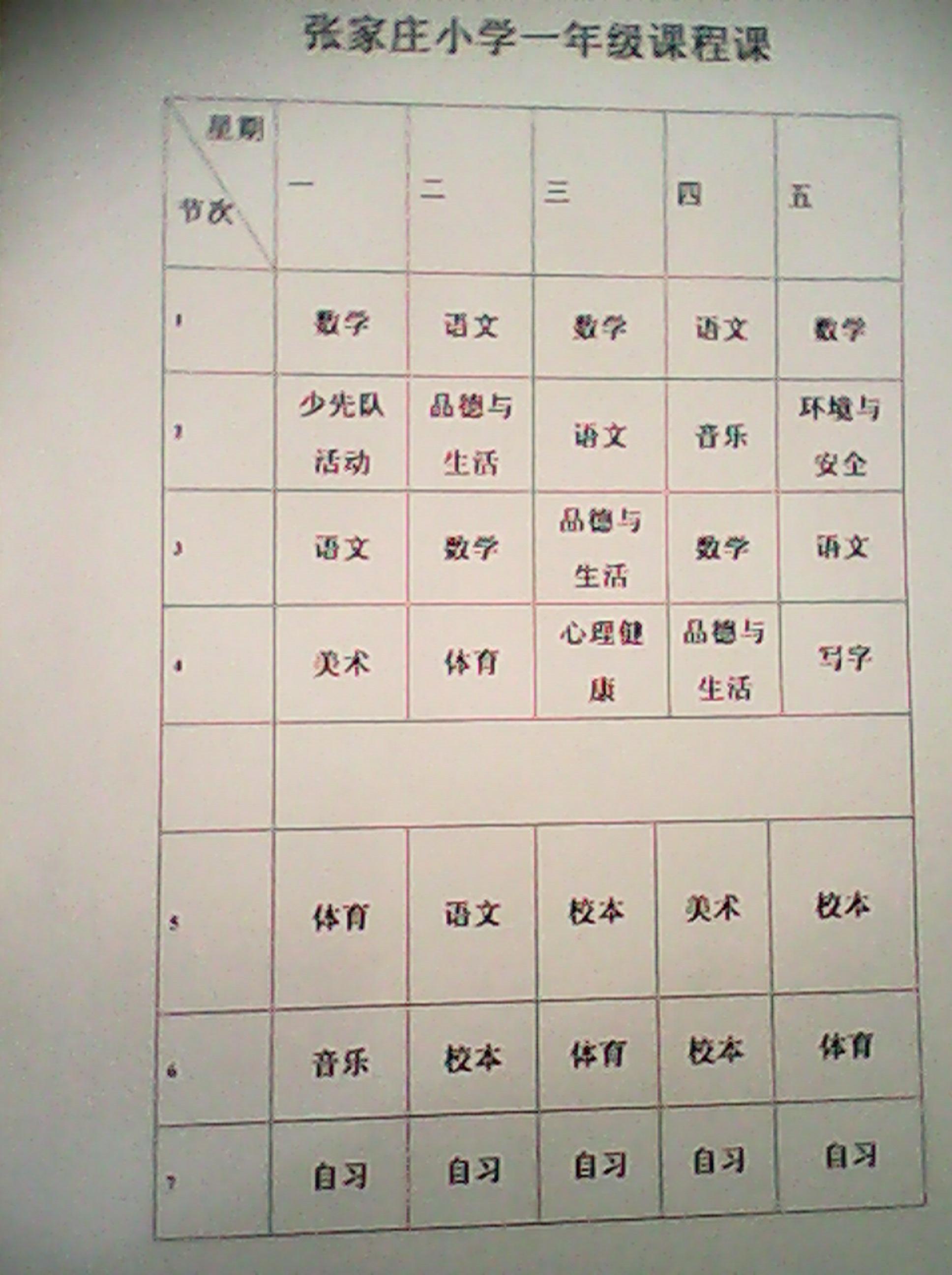 张家庄小学一年级课程表
