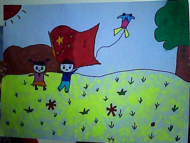 国旗的画法儿童画