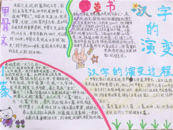 自编手抄报 趣味学汉字