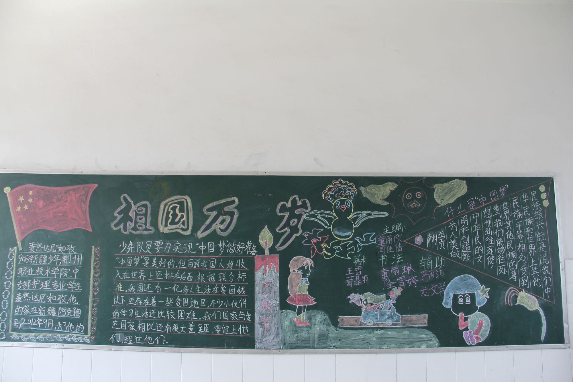 巾相约中国梦 主题黑板报图片