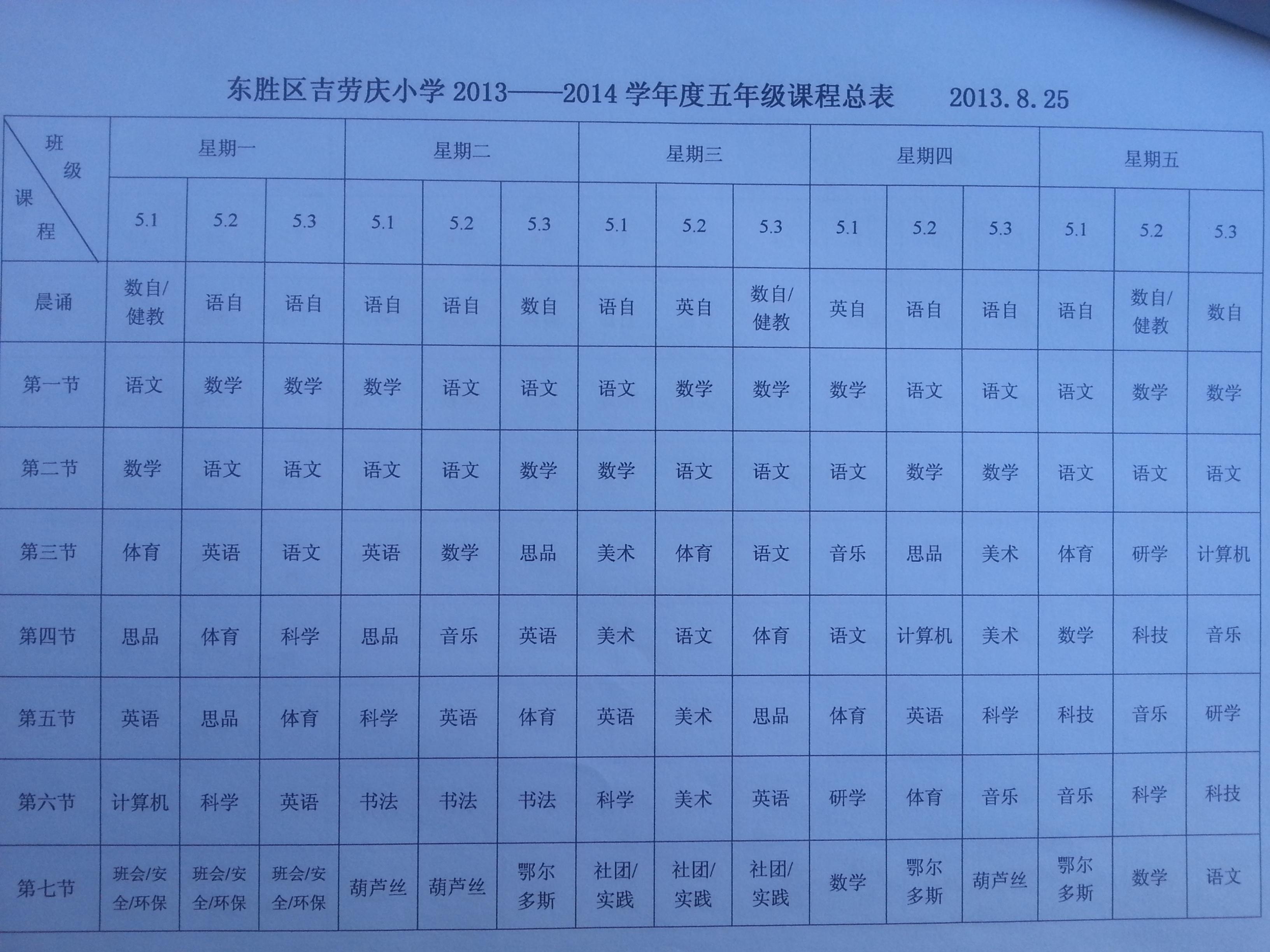 东胜区吉劳庆小学 各班课程表