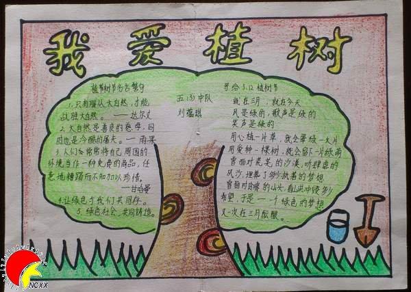 一年级植树儿童画