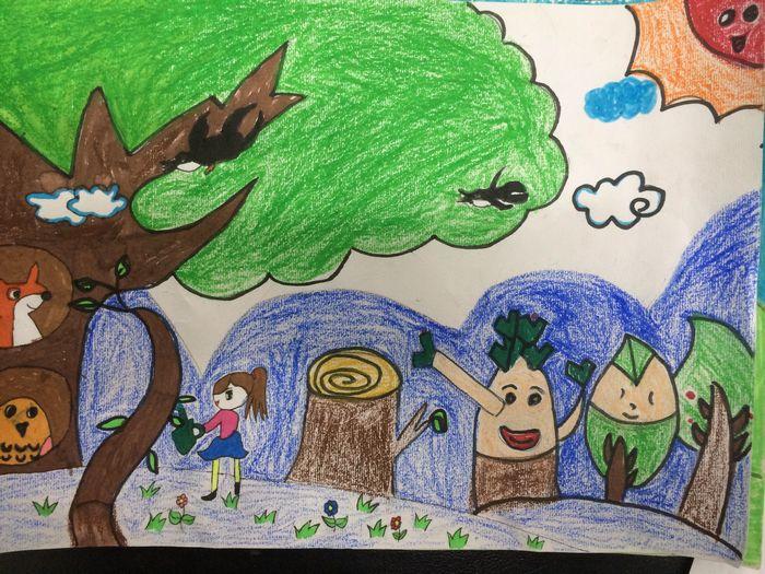 """国际学校小学部二年级 """"大树的故事"""" 绘画比赛图片"""