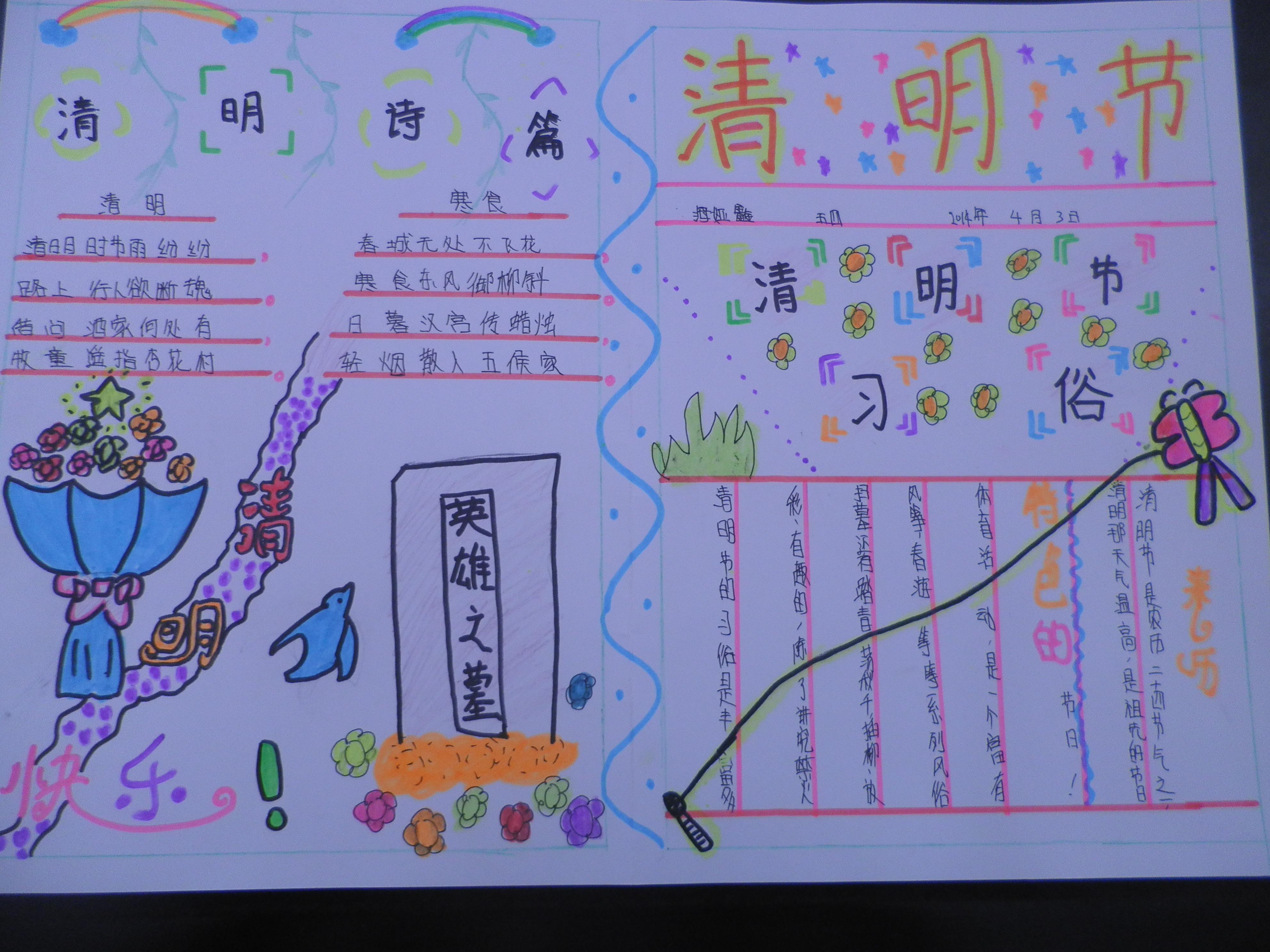 聚源路西校区 五四班 清明节手抄报 - 美丽中国,社会