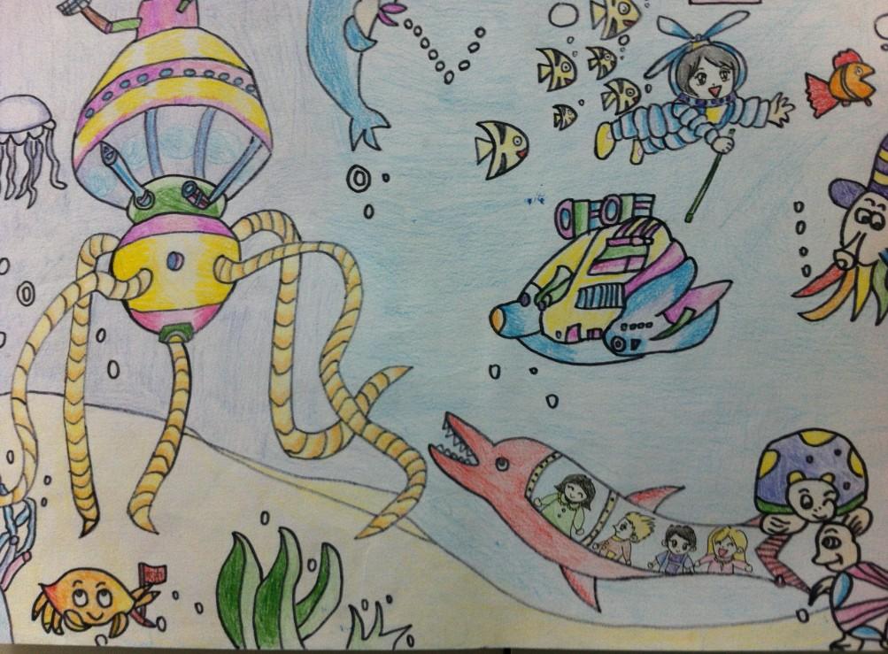 海底教师范画_0  1 大图浏览 分享到: 垂杨柳中心小学--袁雪菲-海底探险-指导教师