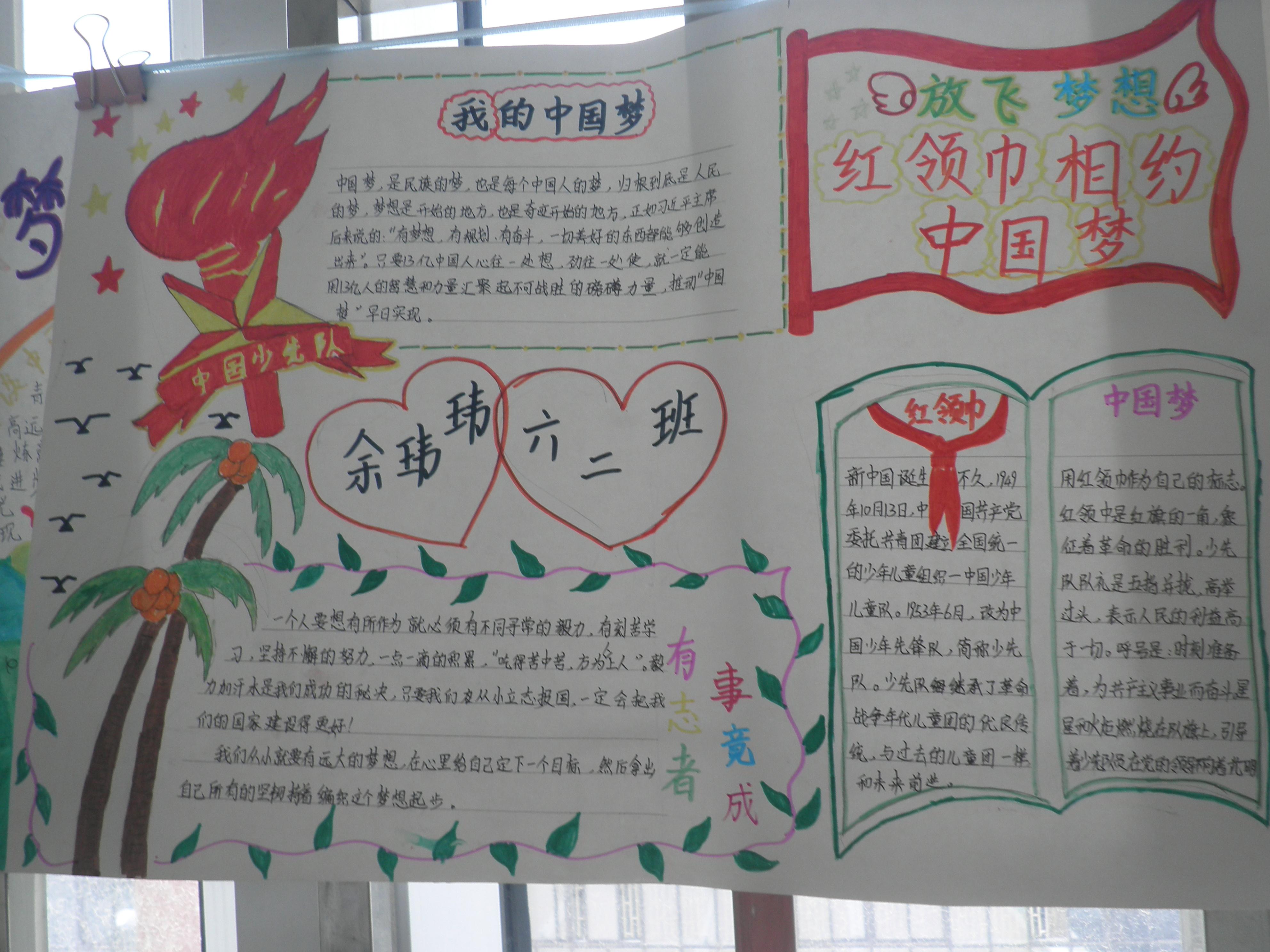 """聚西六二中队""""红领巾相约中国梦""""手抄报"""