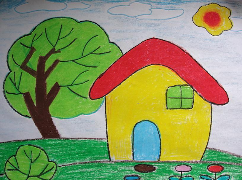 未来家园建筑儿童画_图片素材