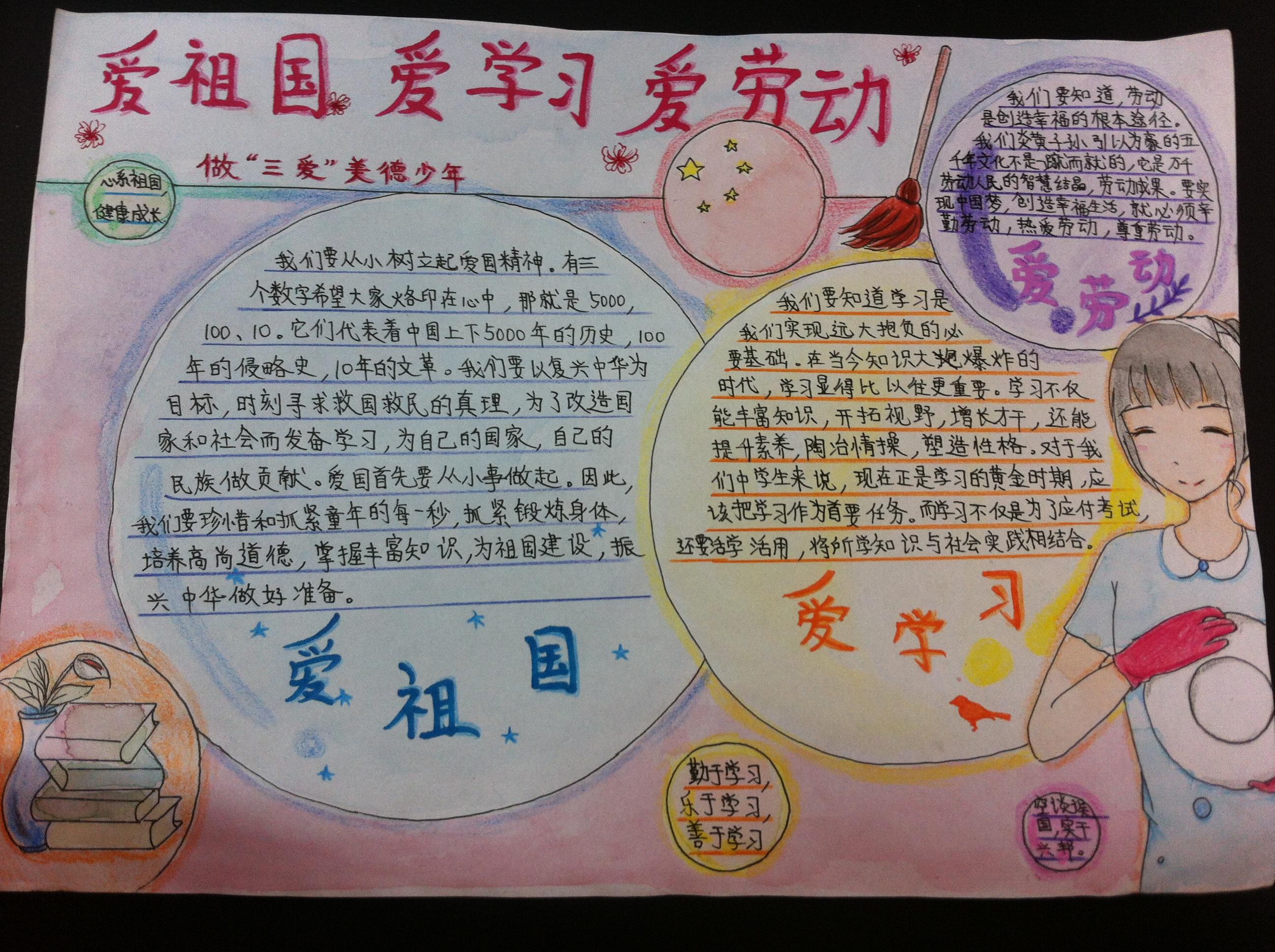 """新秀学校举行""""三爱""""教育手抄报比赛图片"""