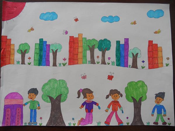 我的家绘画图片大全-经典手绘墙画素材/幼儿画画图片大全/儿童画画
