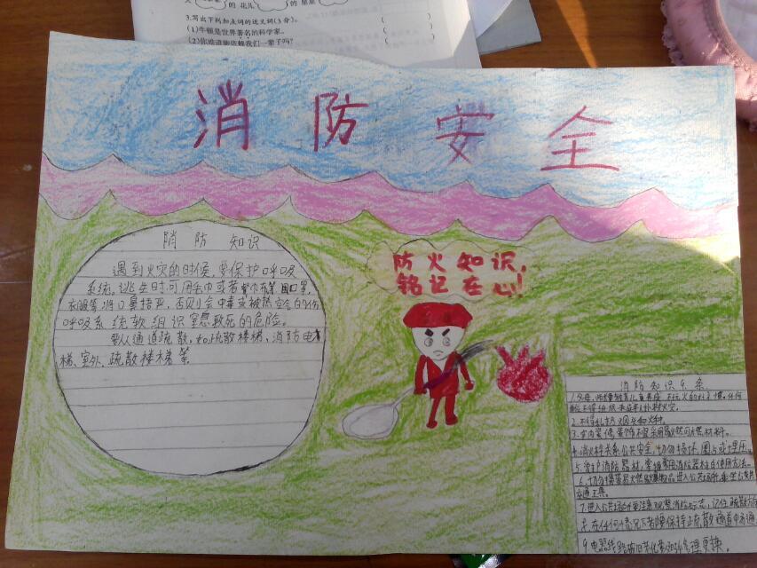 消防安全手抄报 - 美丽中国,红领巾社会实践活动