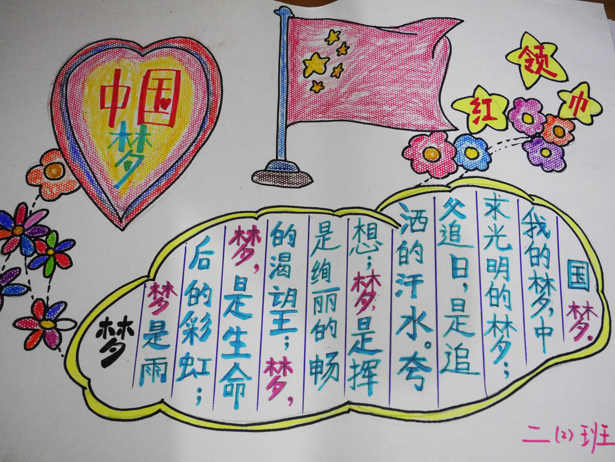 """陕西""""核心价值观记心中""""""""我的梦,中国梦手抄报""""少先队活动"""