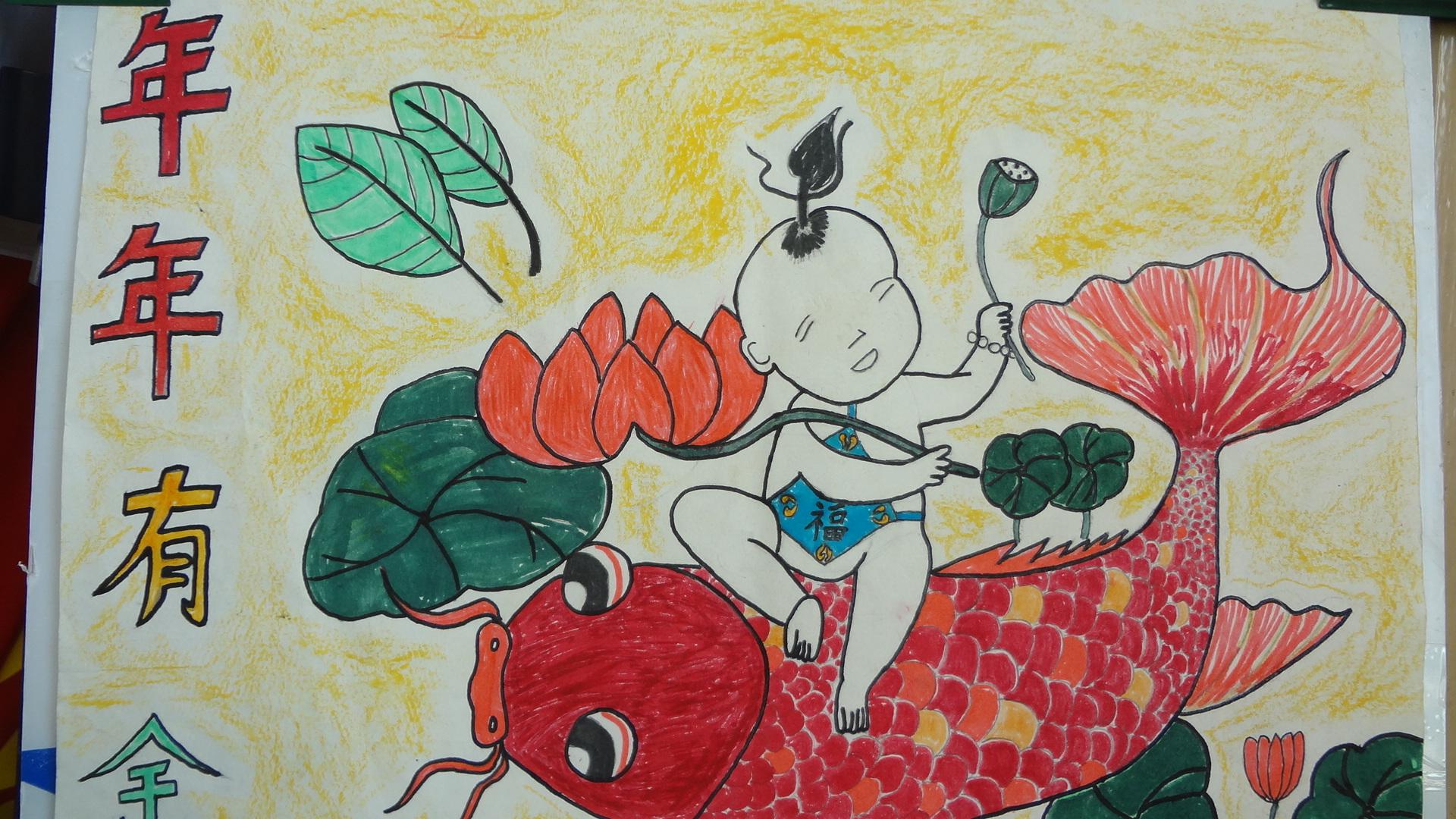 石屯中心小学举行 庆元旦 迎新春 学生书画比赛活动