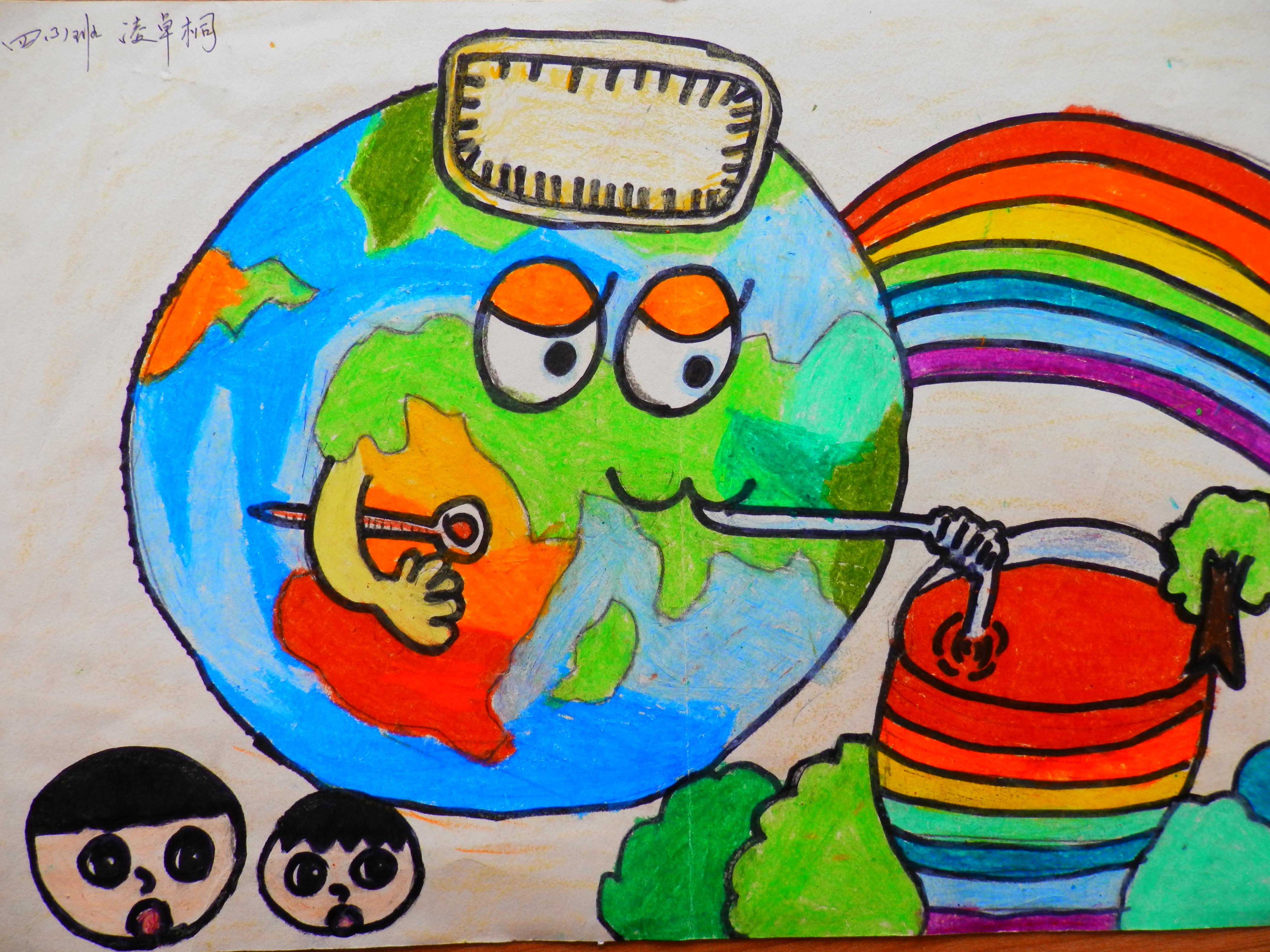 绿色环保图片儿童画-环保画获奖作品图片/最简单的儿童环保画/儿童图片