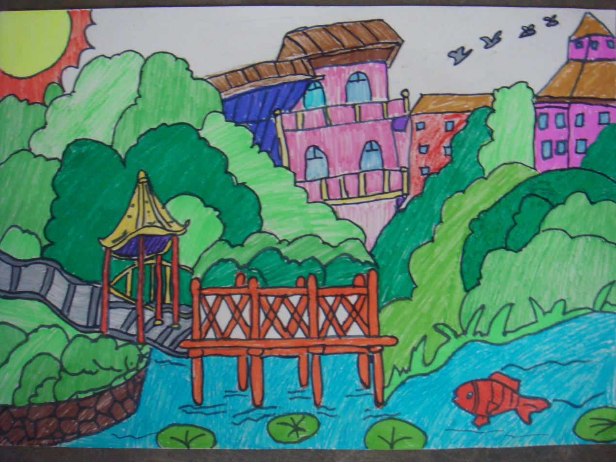 一年级我的家乡画画-我的家乡画画图片小学|一年级画画大全|我的家乡