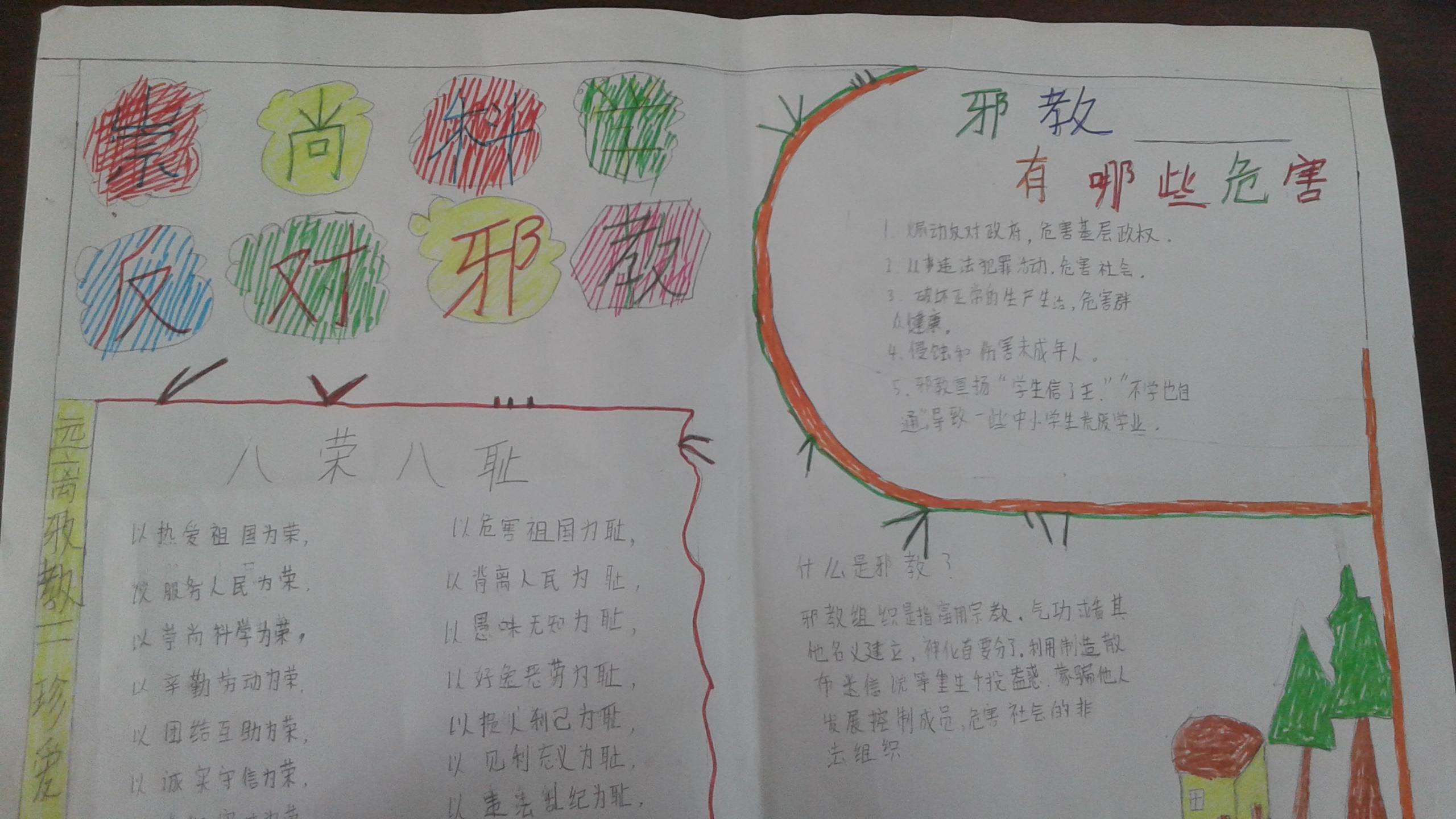 尚店镇回族小学崇尚科学反对邪教手抄报大赛作品展示二