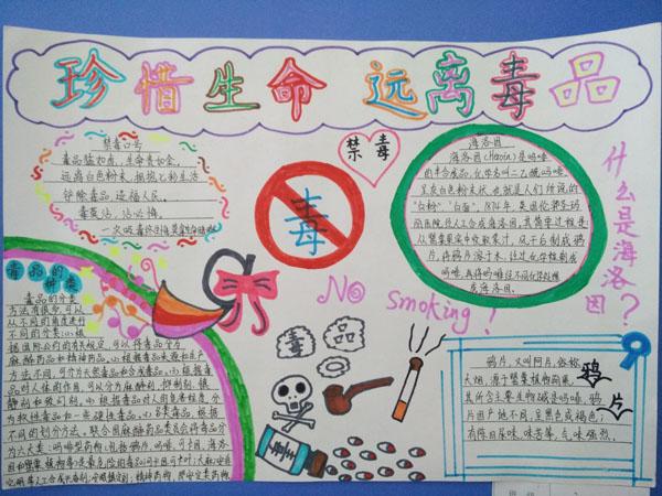 八里中心小学组织学生进行禁毒手抄报比赛