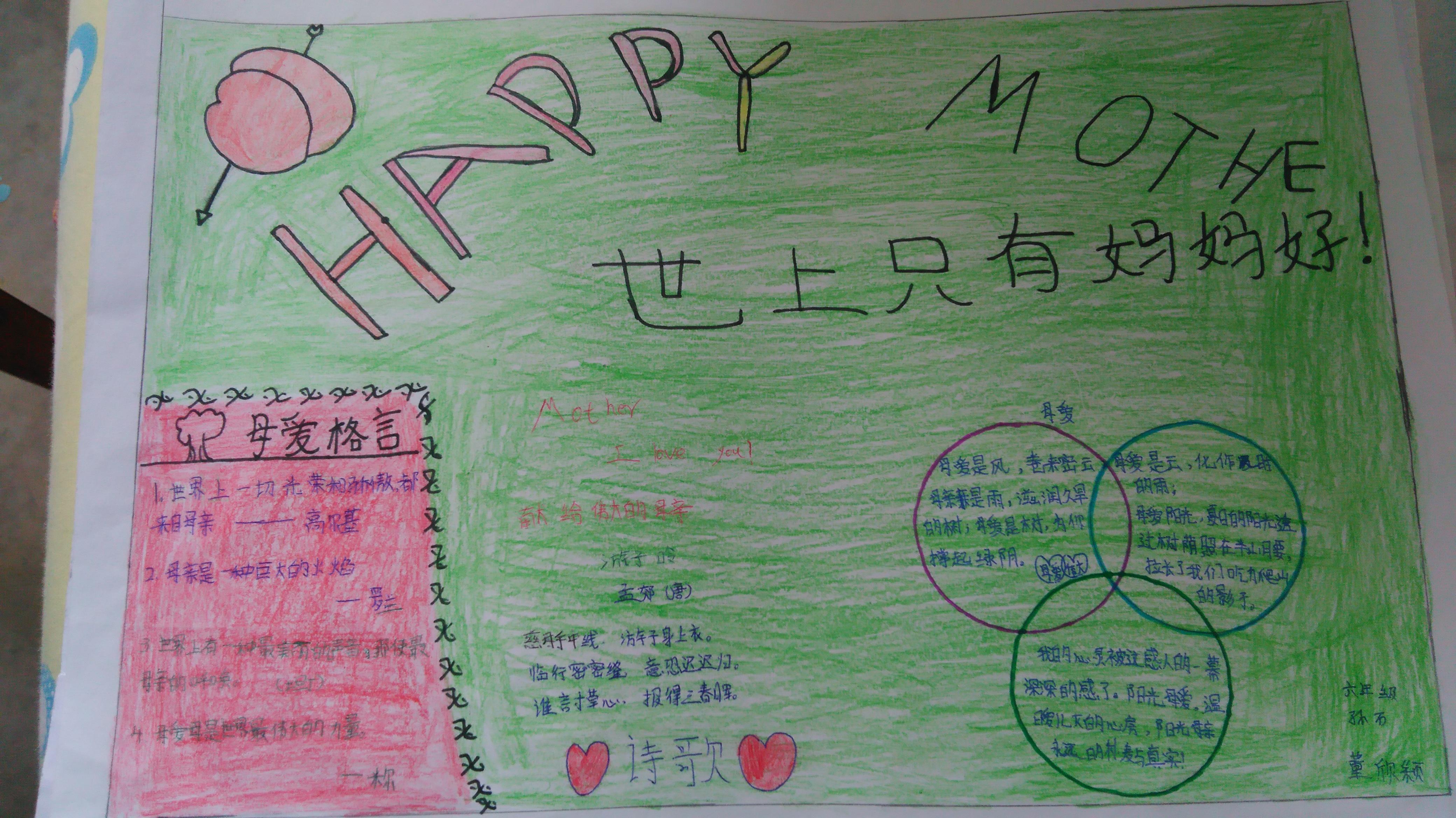 母亲节手抄报 - 各地中小学开学典礼交流专题 - 活动