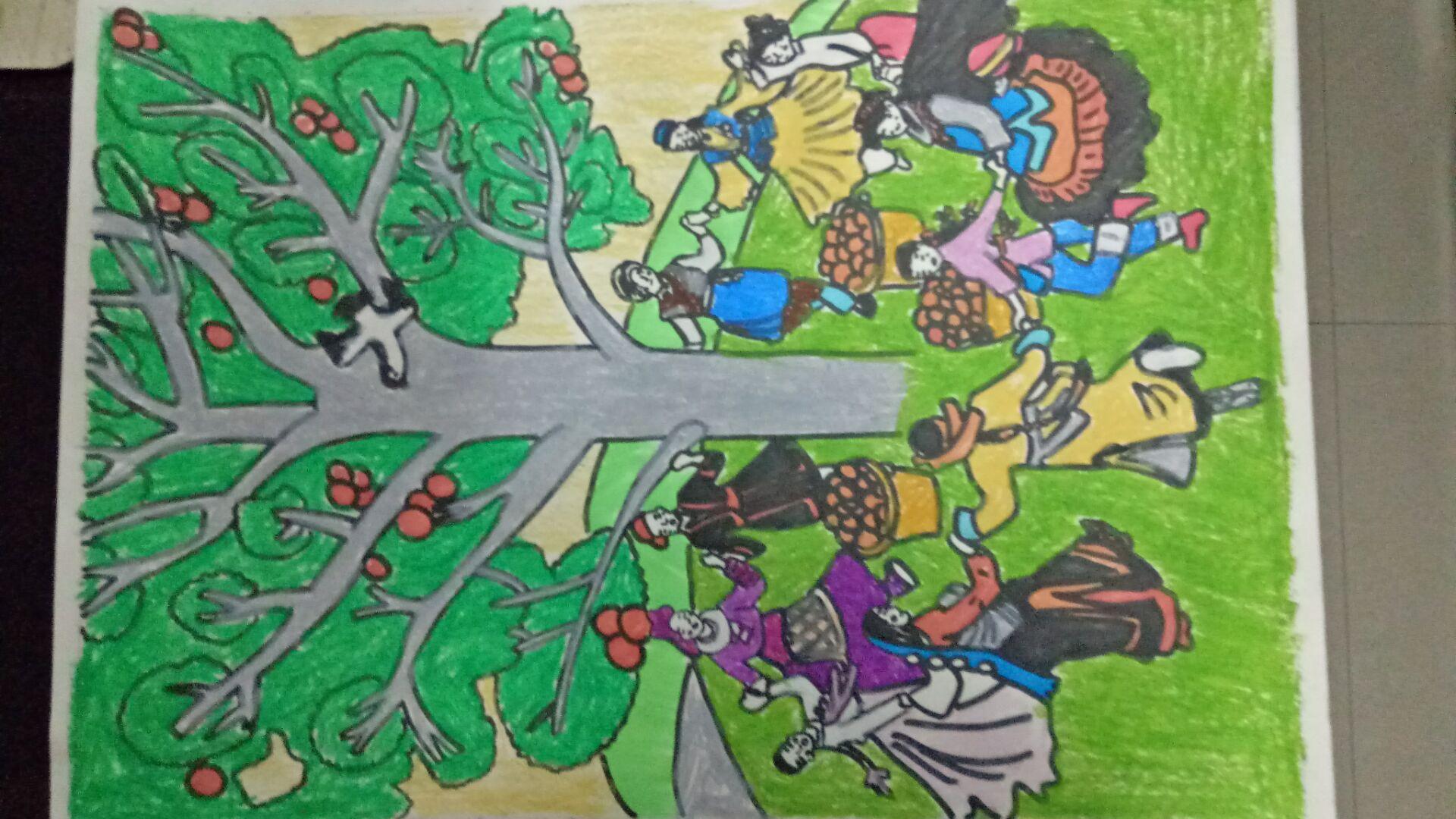 """尉犁县第一中学举办""""民族团结一家亲""""绘画手工作品展活动图片"""