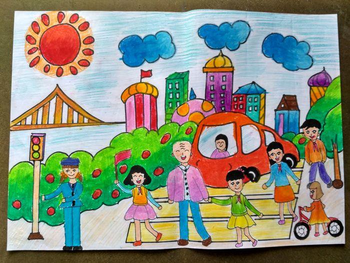 贡川中心小学举行 交通安全伴我行 绘画比赛颁奖仪式图片