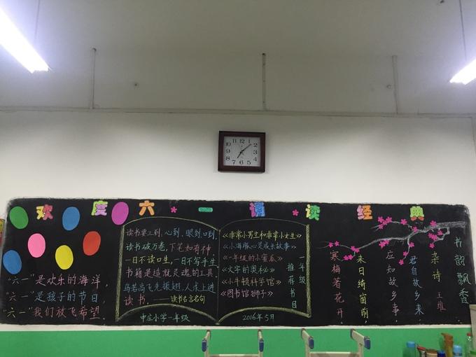 经典诵读 欢度六一主题黑板报