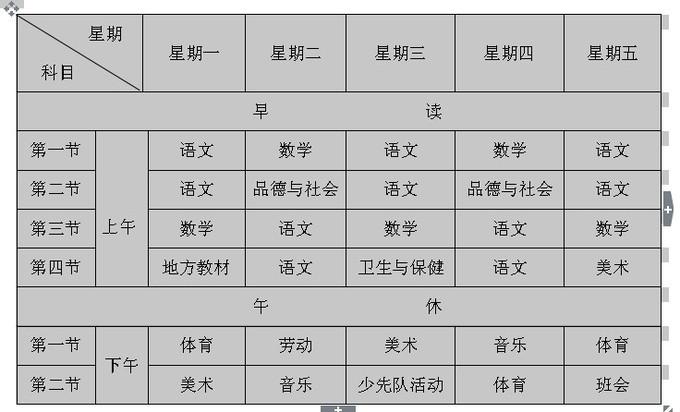 舍所坝小学一年级课程表