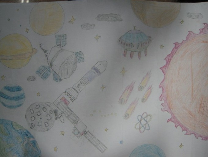 科幻画太空探秘 - 升旗仪式风采展 - 活动 - 未来网图片