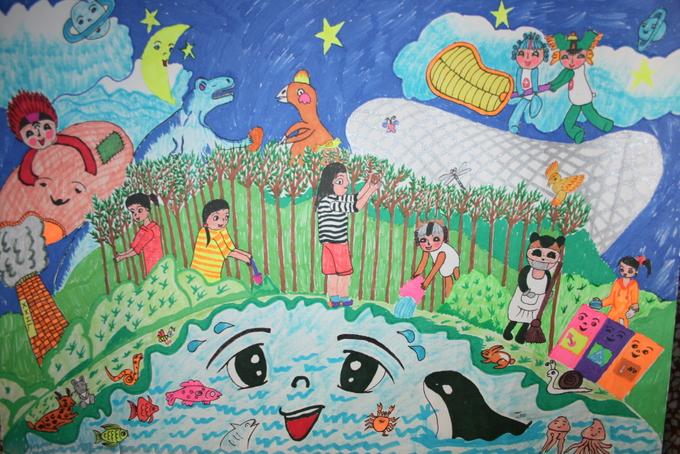 西小学队员们的中国梦绘画作品