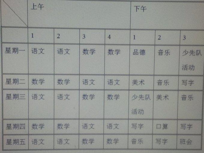 育红小学一年级2班课程表