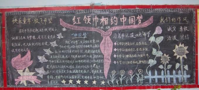 北通中心小学 红领巾相约中国梦 黑板报图片